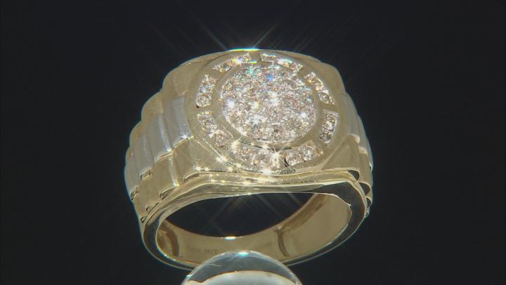 White Diamond 10K Yellow And White Gold Mens Ring 1.00ctw