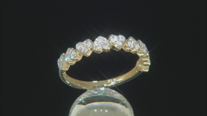 White Diamond 10K Yellow Gold Heart Band Ring 0.12ctw