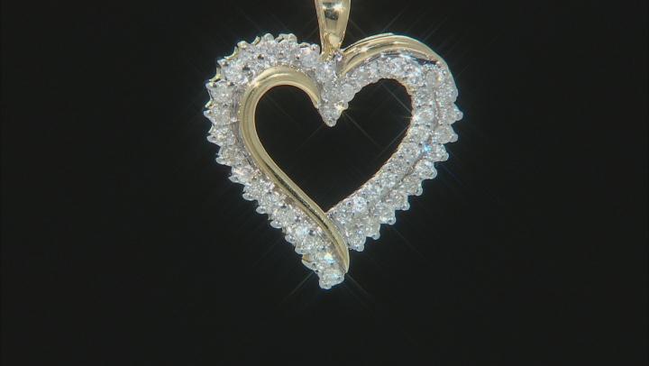 White Diamond 10K Yellow Gold Heart Pendant 0.50ctw