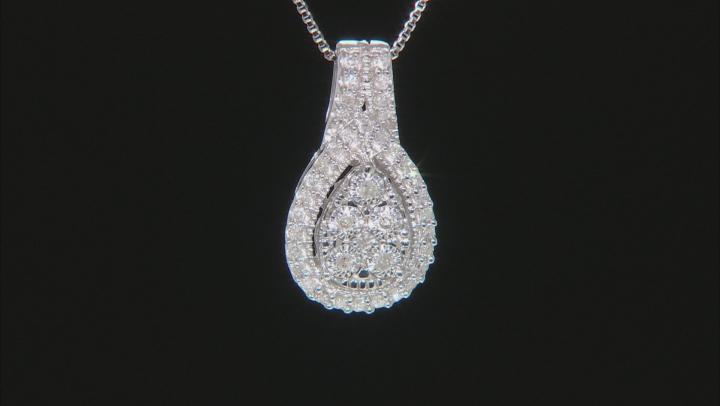 White Diamond Rhodium Over Sterling Silver Cluster Pendant 0.20ctw