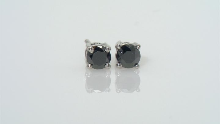 Black Diamond Rhodium Over Sterling Silver Stud Earrings 1.00ctw