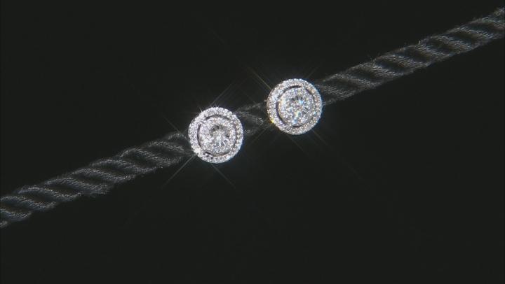 White Diamond 10K White Gold Cluster Earrings 0.25ctw