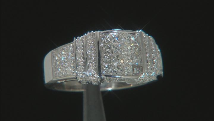 White Diamond 14K White Gold Cluster Ring 1.00ctw