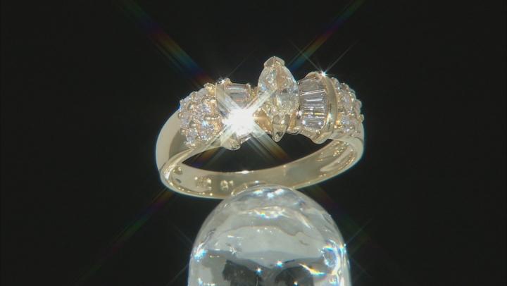 White Diamond 14K Yellow Gold Ring 0.90ctw