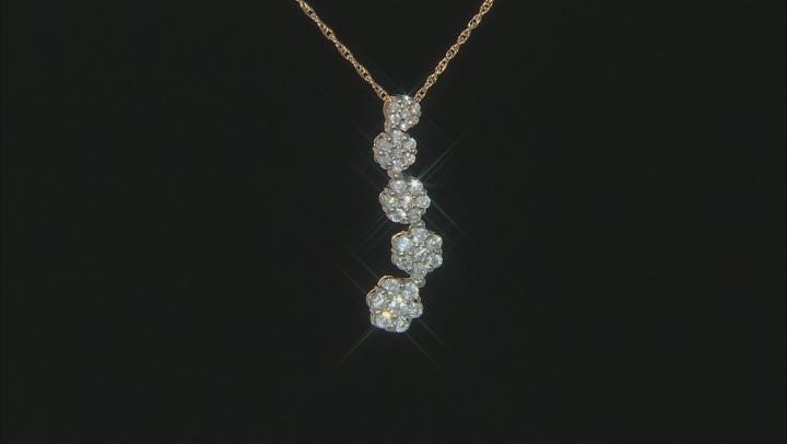 White Diamond 10K Yellow Gold Floral Cluster Pendant 0.94ctw