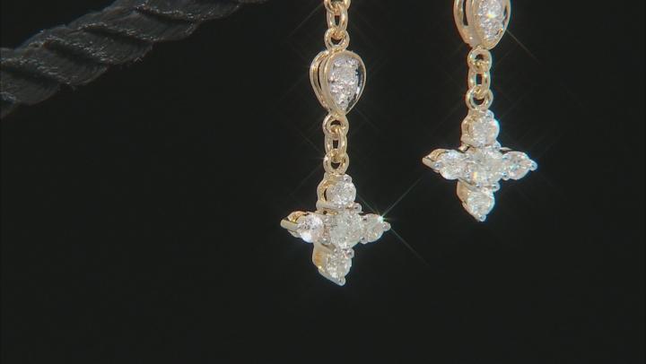 White Diamond 14K Yellow Gold Cross Dangle Earrings 0.75ctw