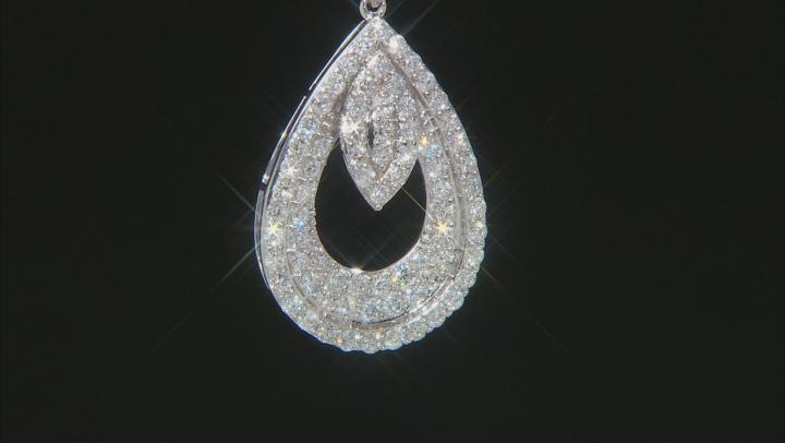 White Diamond 10k White Gold Teardrop Pendant With 18