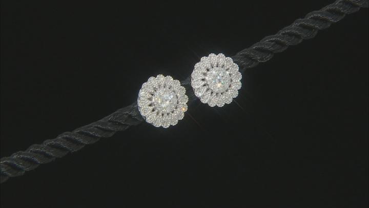 White Diamond 14K White Gold Cluster Earrings 0.50ctw