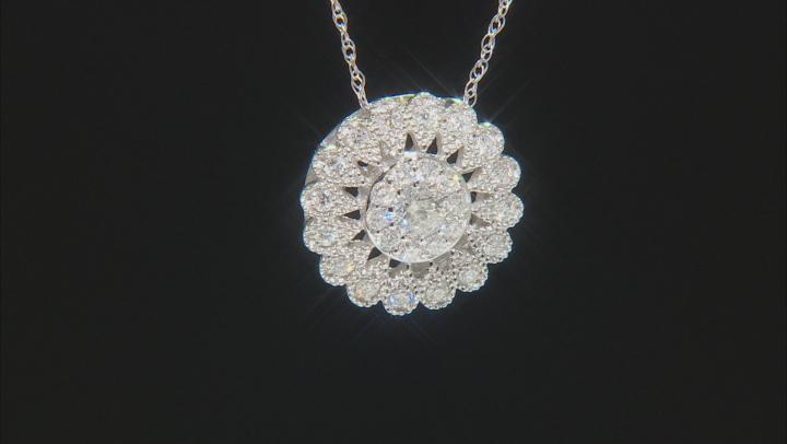 White Diamond 14K White Gold Cluster Pendant With Chain 0.50ctw