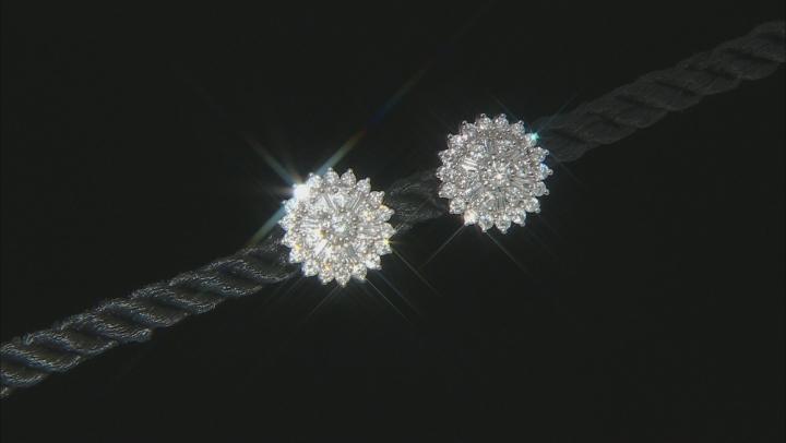 White Diamond 14K White Gold Cluster Earrings 1.00ctw