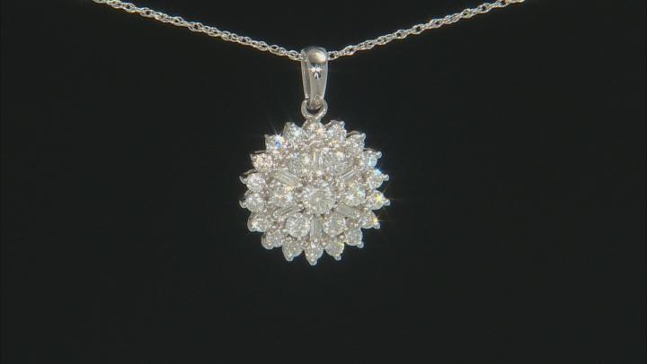 White Diamond 14K White Gold Cluster Pendant With Chain 1.00ctw