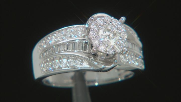 White Diamond 10K White Gold Cluster Ring 1.00ctw