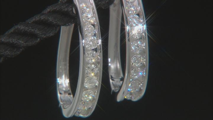 White Diamond 14K White Gold Hoop Earrings 1.00ctw