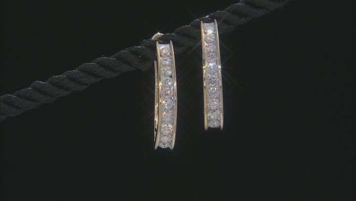 White Diamond 14K Yellow Gold Hoop Earrings 1.00ctw
