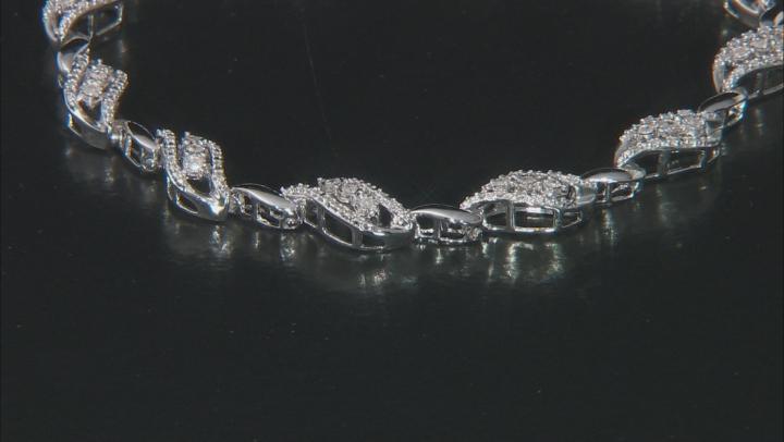 White Diamond Rhodium Over Sterling Silver Tennis Bracelet 0.50ctw