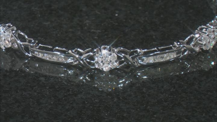 White Diamond Rhodium Over Sterling Silver Heart Tennis Bracelet 0.25ctw