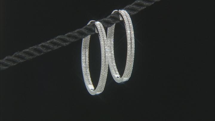 White Diamond 10K White Gold Hoop Earrings 1.25ctw