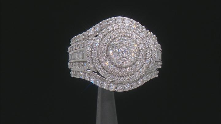 White Diamond 10K White Gold Cluster Ring 2.00ctw