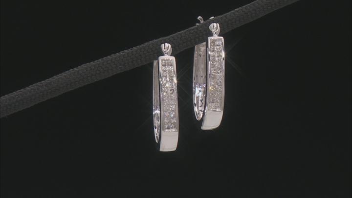 White Diamond 14K White Gold Hoop Earrings 0.50ctw