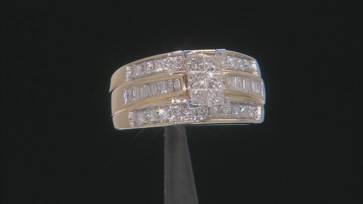 White Diamond 10K Yellow Gold Quad Ring 1.00ctw