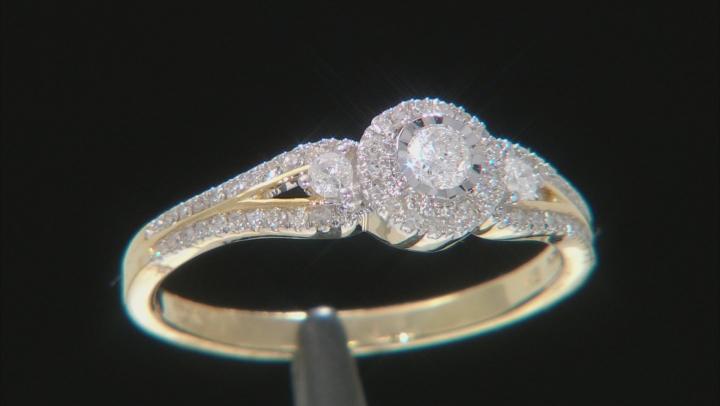 White Diamond 10k Yellow Gold Cluster Ring 0.33ctw