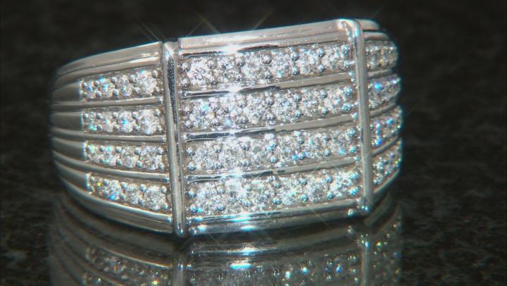 White Diamond 10k White Gold Mens Multi-Row Ring 1.00ctw
