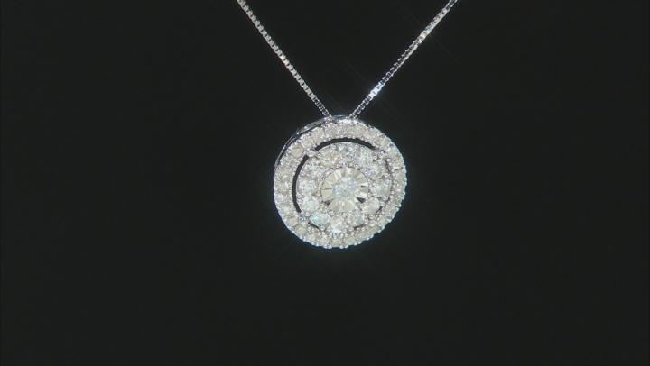 White Diamond 10k White Gold Cluster Pendant With 18
