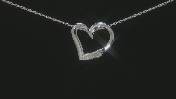White Diamond 10K White Gold Heart Pendant With Chain 0.10ctw