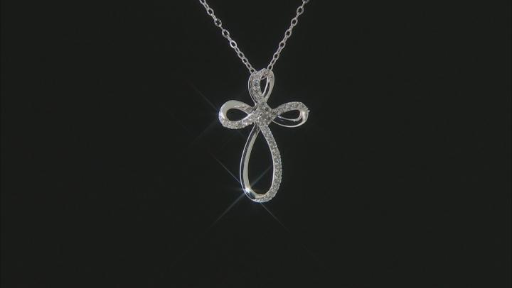 White Diamond 10K White Gold Cross Pendant With Chain .25ctw