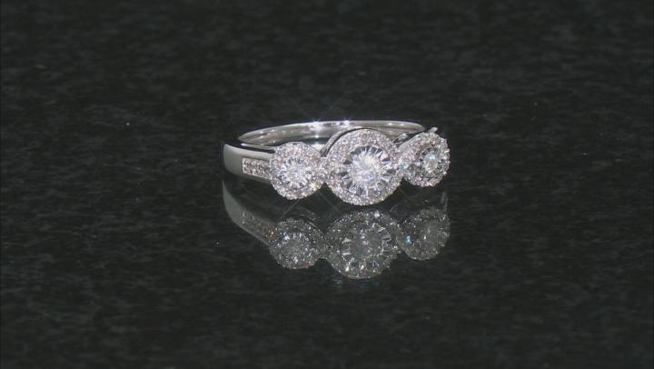 White Diamond 10k White Gold 3-Stone Ring 0.33ctw