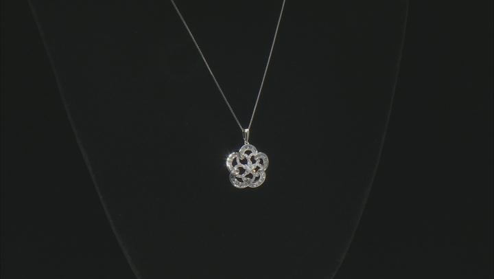 White Diamond 10K White Gold Flower Pendant With Chain 0.80ctw