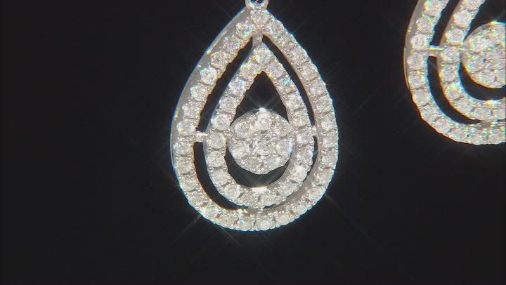 White Diamond 10K White Gold Dangle Earrings 1.50ctw