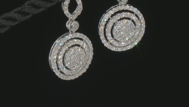 White Diamond 10K White Gold Dangle Earrings 1.60ctw
