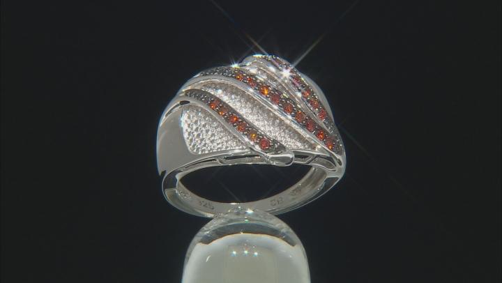 Red Diamond Rhodium Over Sterling Silver Bridge Ring 0.25ctw