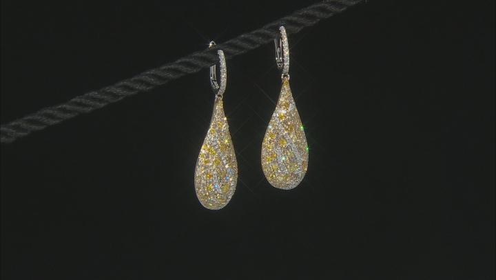 Multi-Color Diamond 14K Two-Tone Gold Cluster Dangle Earrings 1.90ctw
