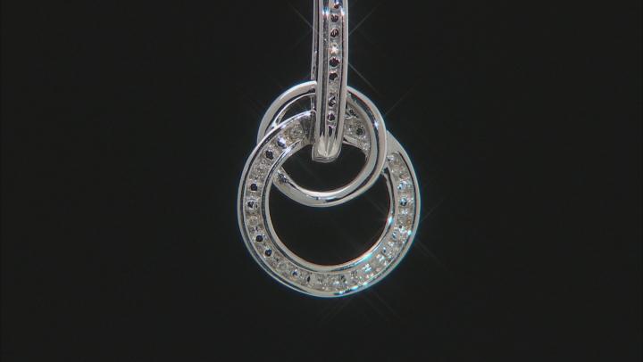 White Diamond Accent Rhodium Over Sterling Silver Interlocking Circle Pendant With Chain