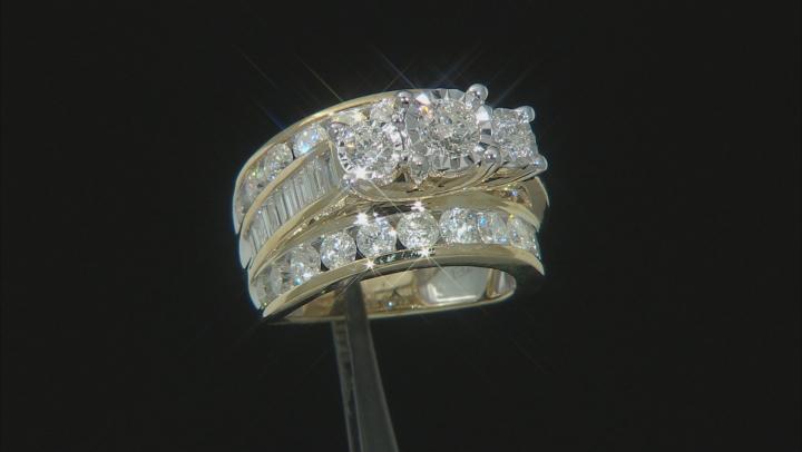 White Diamond 10K Yellow Gold 3-Stone Bridge Ring 4.00ctw