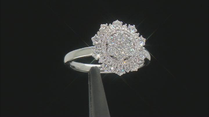 White Diamond 10K White Gold Cluster Ring 0.88ctw