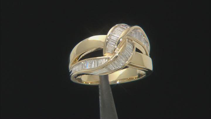 White Diamond 10K Yellow Gold Crossover  Ring 0.85ctw