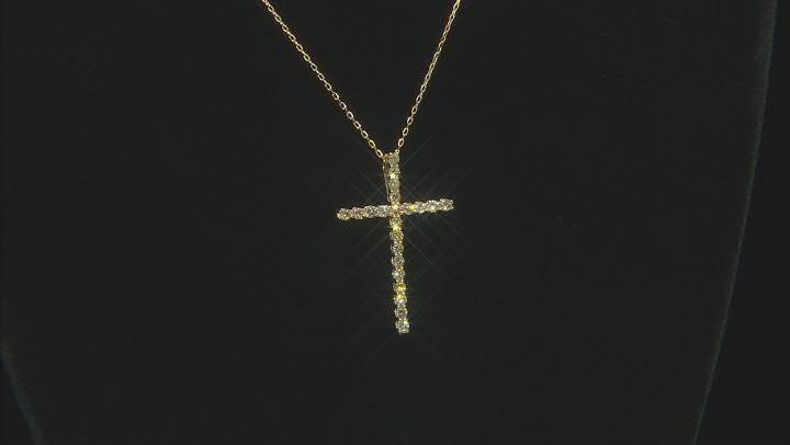 Natural Yellow Diamond 14K Yellow Gold Cross Pendant With Chain 1.00ctw