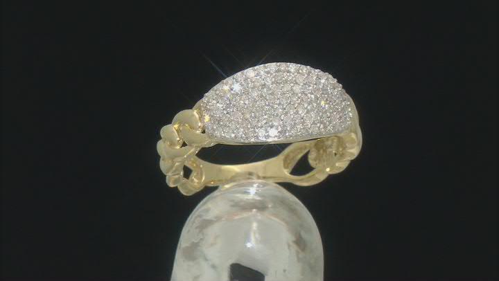 White Diamond 10K Yellow Gold Link Ring 0.50ctw
