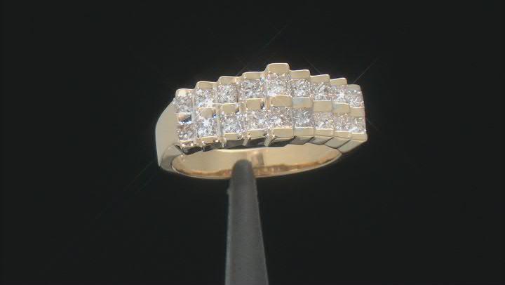 White Diamond 14K Yellow Gold Pyramid Ring 0.75ctw