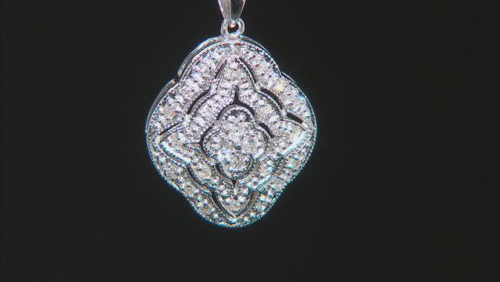 White Diamond 10K White Gold Cluster Pendant With Chain 0.14ctw
