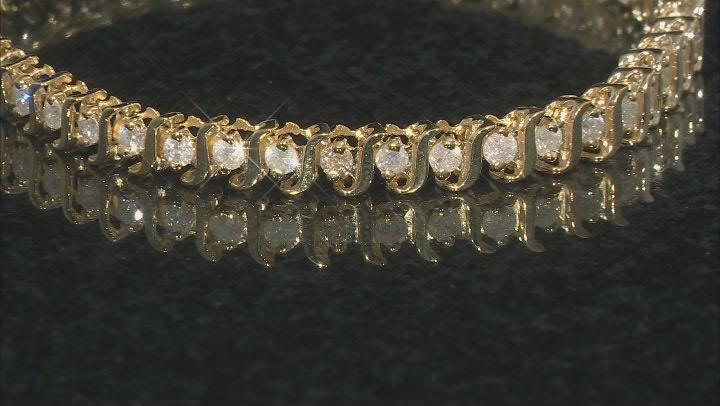 White Diamond 14K Yellow Gold Tennis Bracelet 2.80ctw