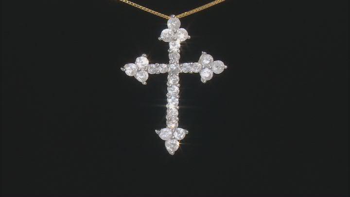 White Diamond 10K Yellow Gold Cross Pendant With Chain 1.00ctw