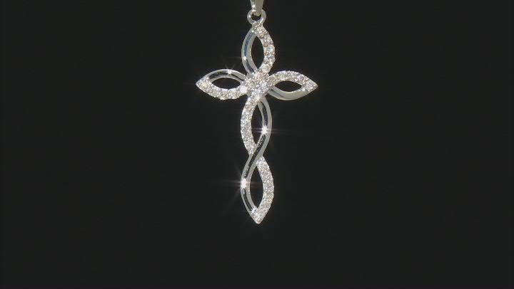 White Diamond 10K White Gold Cross Pendant With Chain 0.35ctw