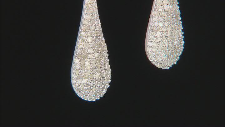 White Diamond Rhodium Over Sterling Silver Dangle Earrings 1.10ctw