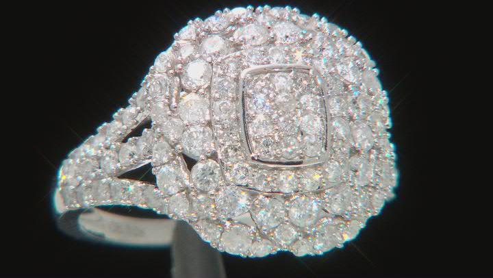 White Diamond 10K White Gold Cluster Ring 1.40ctw