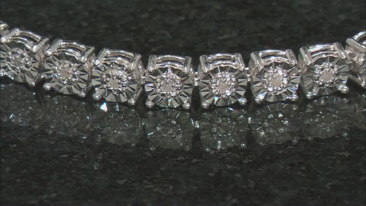 White Diamond Rhodium Over Sterling Silver Tennis Bracelet 0.20ctw