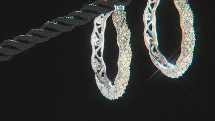 White Diamond Rhodium Over Sterling Silver Hoop Earrings 1.00ctw